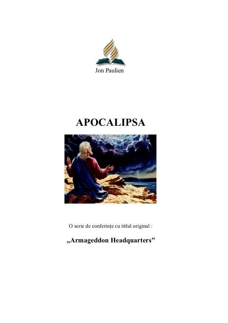"""Jon Paulien   APOCALIPSAO serie de conferin       :,,Armageddon Headquarters"""""""