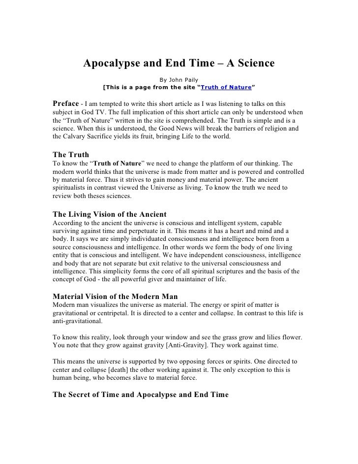 Apocalypse and End Time – A Science                                      By John Paily                    [This is a page ...