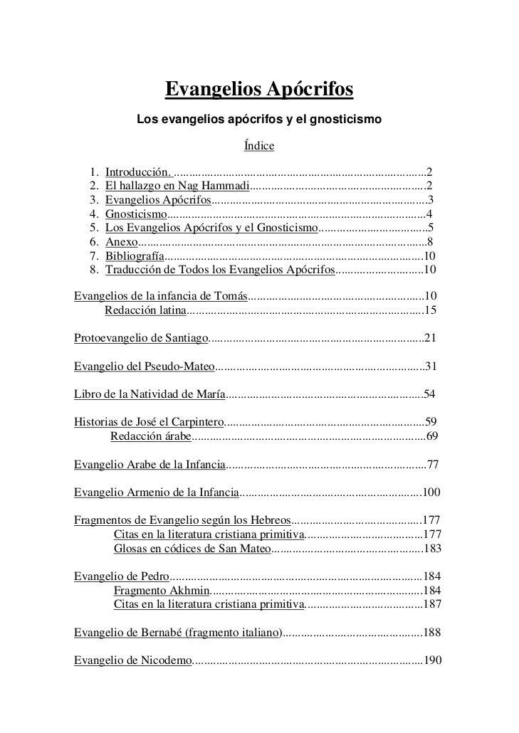 Evangelios Apócrifos                  Los evangelios apócrifos y el gnosticismo                                           ...