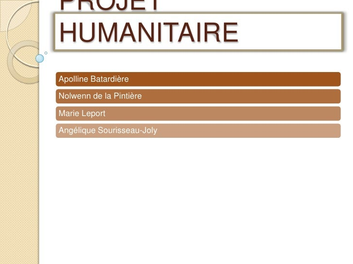 PROJET HUMANITAIRE<br />
