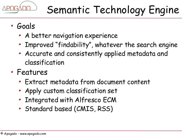 """Semantic Technology Engine         Goals              A better navigation experience              Improved """"findability"""", ..."""