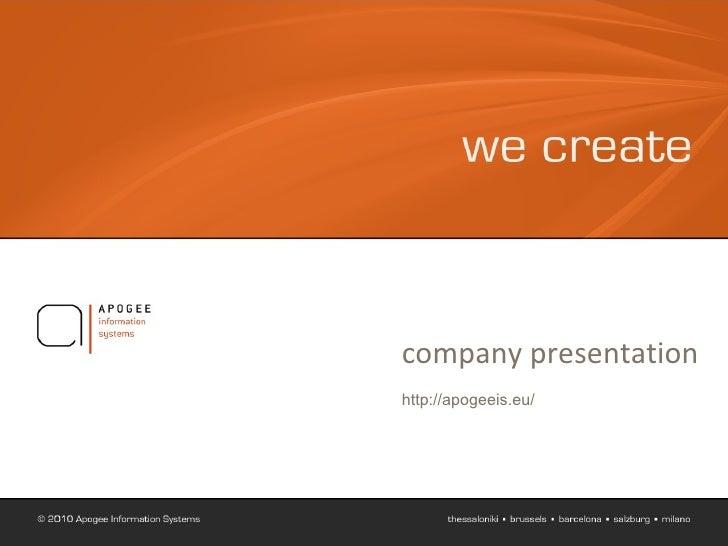 Apogee Company Presentation 2010