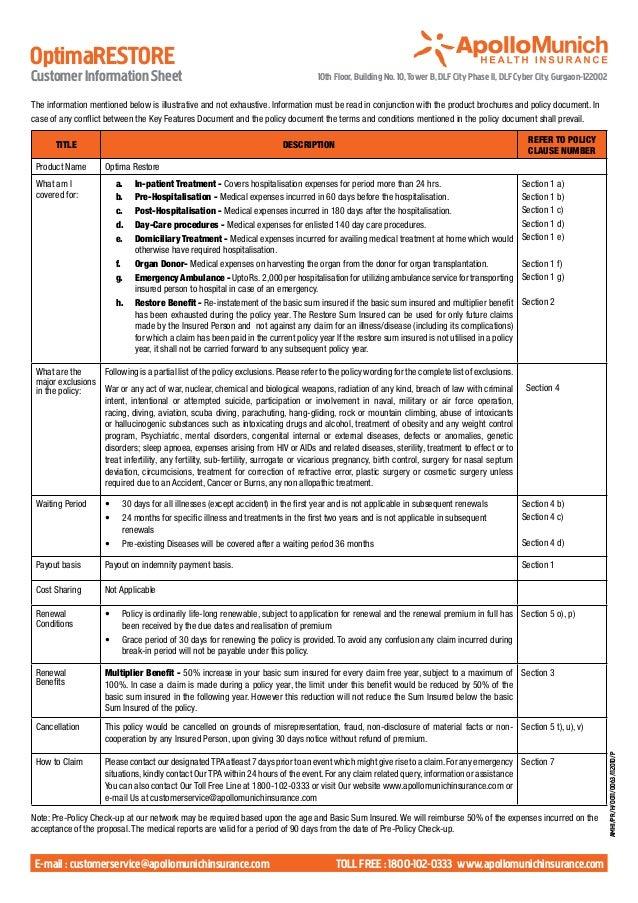 OptimaRESTORECustomer Information Sheet                                                        10th Floor, Building No. 10...