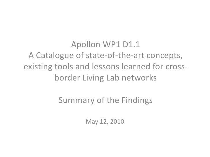 Apollon WP1 D1.1A Catalogue of state-of-the-art concepts, existing tools and lessons learned for cross-border Living Lab n...
