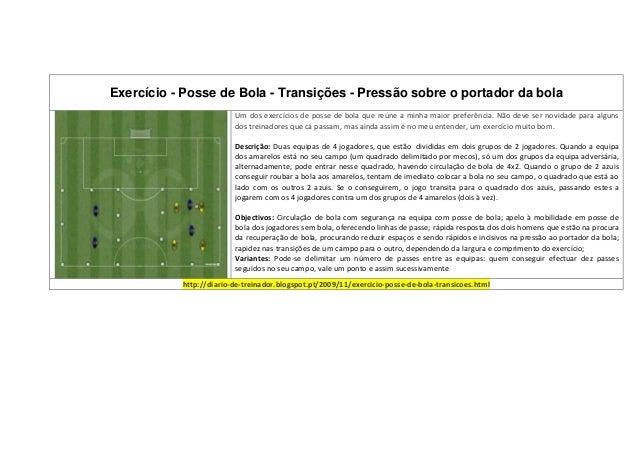 Exercício - Posse de Bola - Transições - Pressão sobre o portador da bola                         Um dos exercícios de pos...