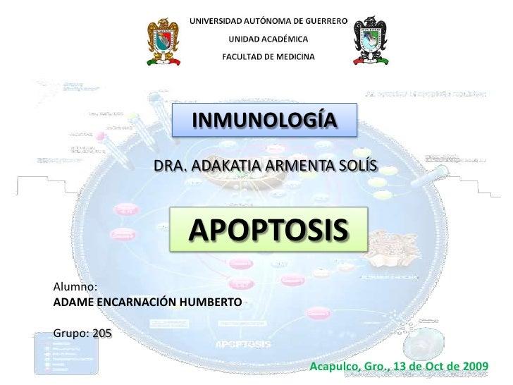 INMUNOLOGÍA<br />DRA. ADAKATIA ARMENTA SOLÍS<br />APOPTOSIS<br />Alumno:<br />ADAME ENCARNACIÓN HUMBERTO<br />Grupo: 205<b...
