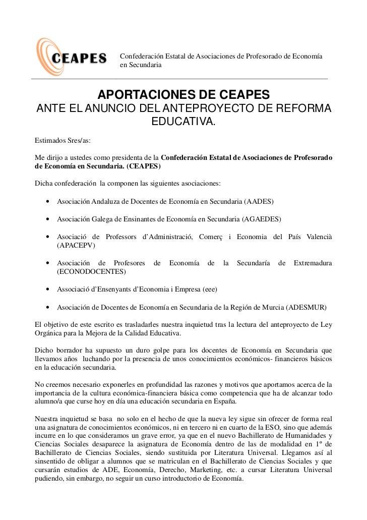 Confederación Estatal de Asociaciones de Profesorado de Economía                            en Secundaria                 ...