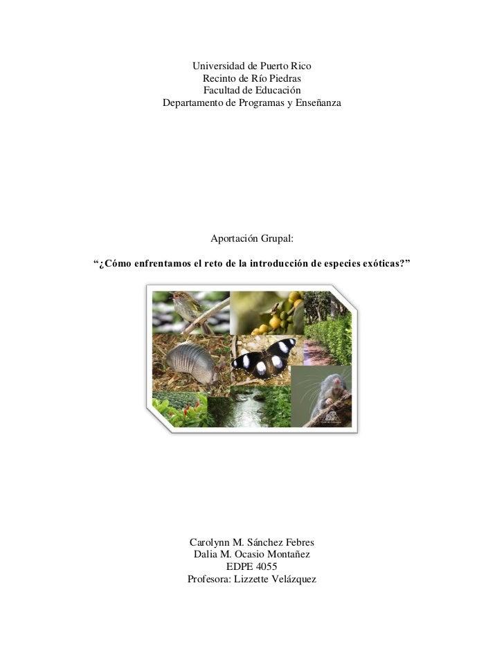Universidad de Puerto Rico                      Recinto de Río Piedras                      Facultad de Educación         ...