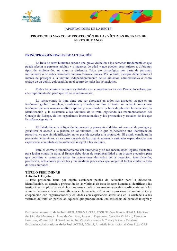 (APORTACIONES DE LA RECTP)    PROTOCOLO MARCO DE PROTECCIÓN DE LAS VÍCTIMAS DE TRATA DE                        SERES HUMAN...