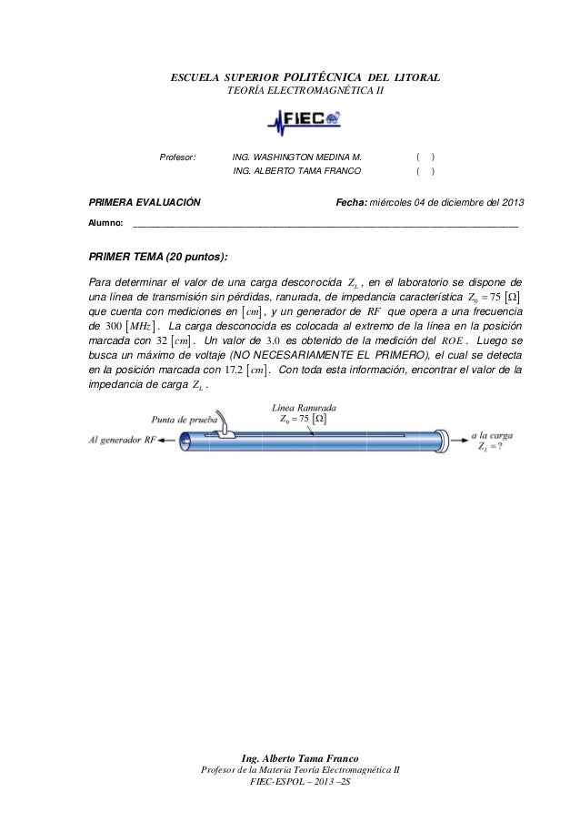 ESCUELA SUPERIOR POLITÉCNICA DEL LITORAL SCUELA TEORÍA ELECTROMAGNÉTICA II ELECTROMAGNÉTICA  ING. WASHINGTON MEDINA M.  PR...