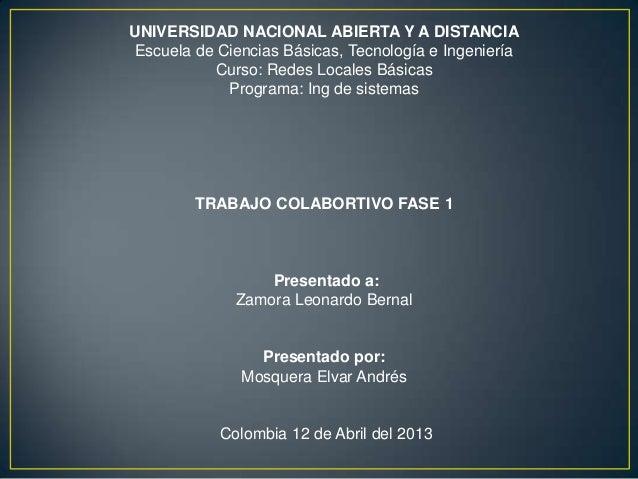 UNIVERSIDAD NACIONAL ABIERTA Y A DISTANCIAEscuela de Ciencias Básicas, Tecnología e Ingeniería          Curso: Redes Local...