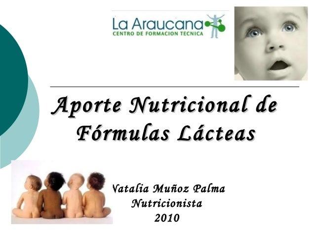 Aporte Nutricional deAporte Nutricional de Fórmulas LácteasFórmulas Lácteas Natalia Muñoz Palma Nutricionista 2010