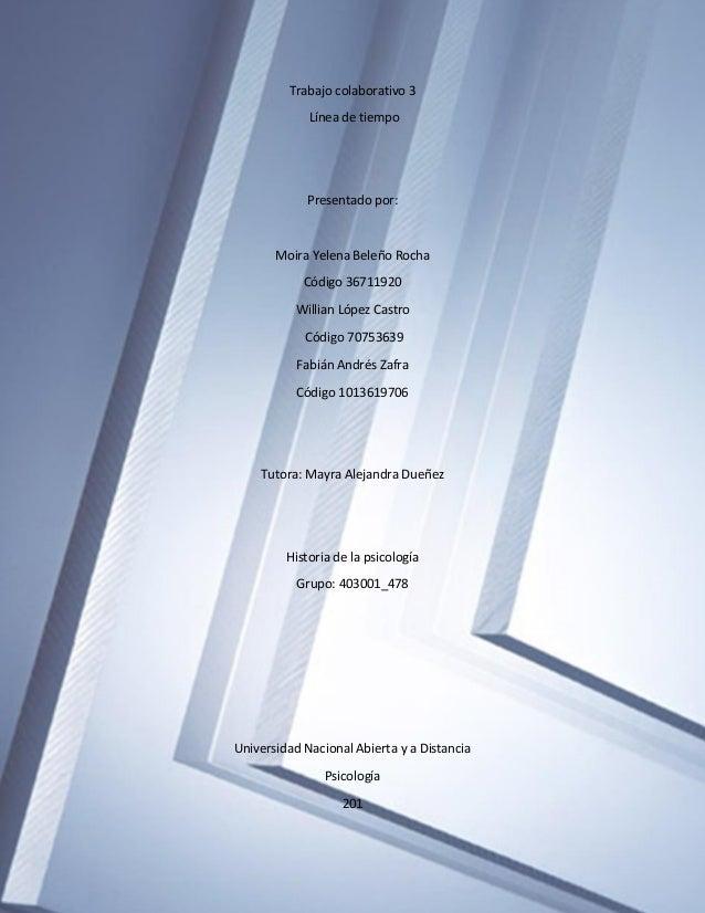 Trabajo colaborativo 3 Línea de tiempo Presentado por: Moira Yelena Beleño Rocha Código 36711920 Willian López Castro Códi...
