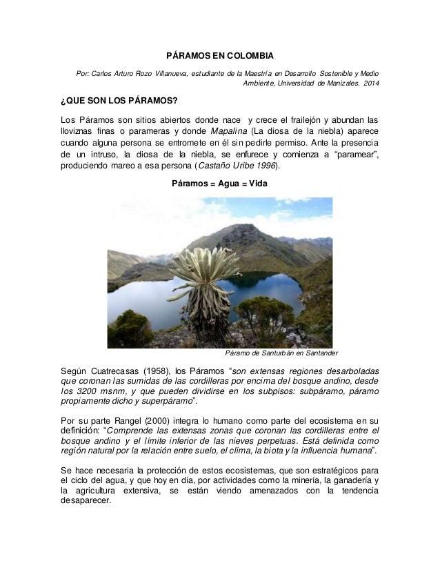 PÁRAMOS EN COLOMBIA  Por: Carlos Arturo Rozo Villanueva, estudiante de la Maestría en Desarrollo Sostenible y Medio  Ambie...