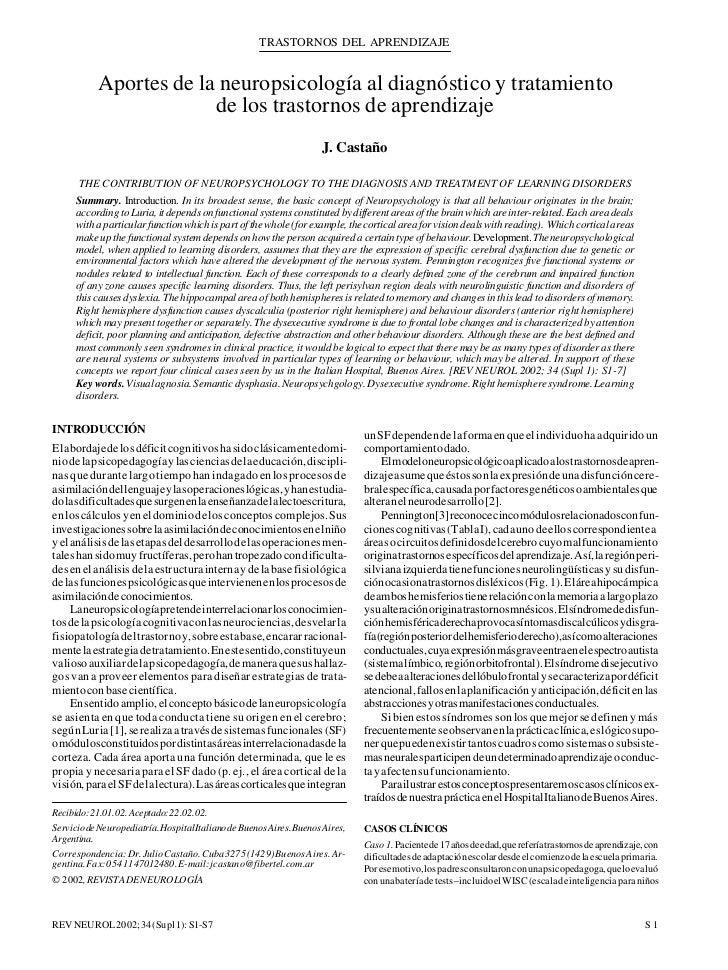 Aportes de la neuropsicologia a los problemas de aprendizaje