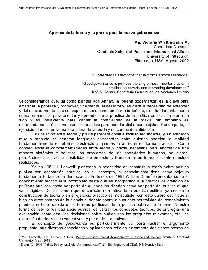 VII Congreso Internacional del CLAD sobre la Reforma del Estado y de la Administración Pública, Lisboa, Portugal, 8-11 Oct...