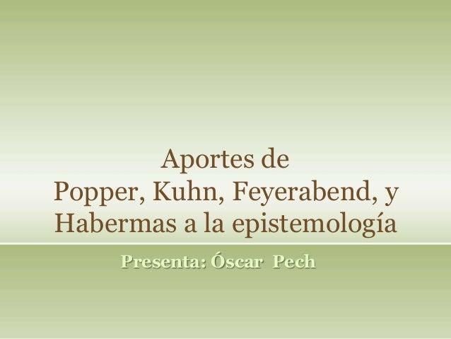 Aportes dePopper, Kuhn, Feyerabend, yHabermas a la epistemologíaPresenta: Óscar Pech