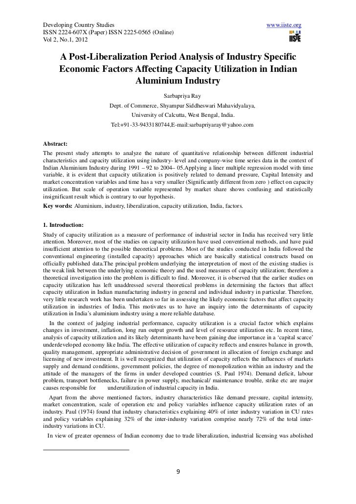 A post liberalization period analysis of industry specific economic factors affecting capacity utilization in indian aluminium industry