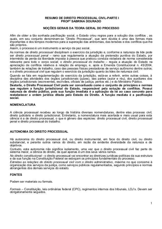 COMEÇANDO DO ZERO  Processo Civil  RESUMO DE DIREITO PROCESSUAL CIVIL-PARTE I  PROFª SABRINA DOURADO  NOÇÕES GERAIS DA TEO...