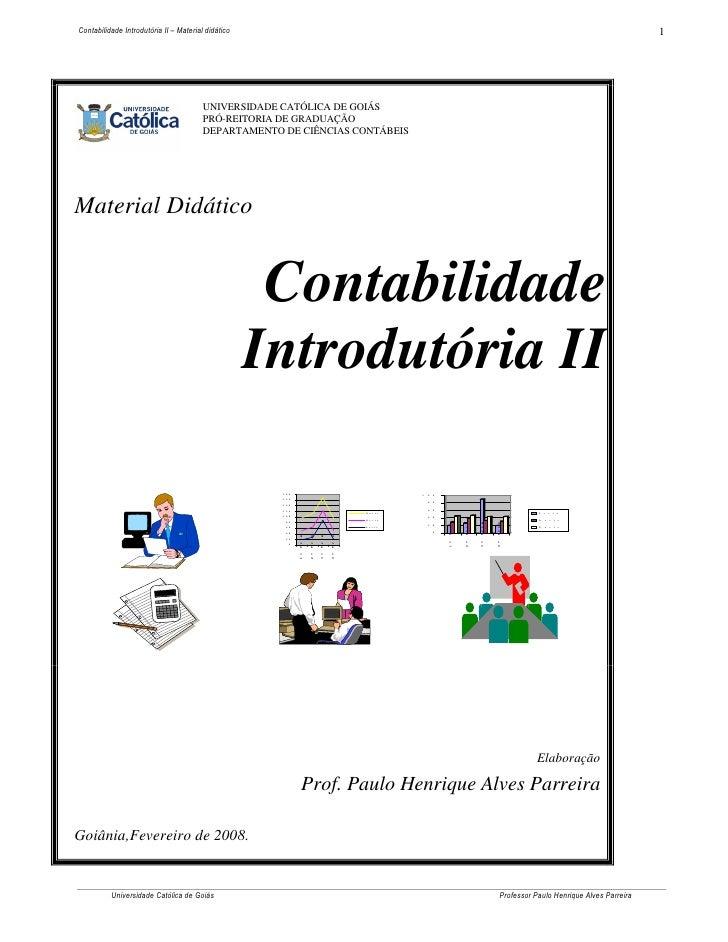 Contabilidade Introdutória II – Material didático                                                                         ...