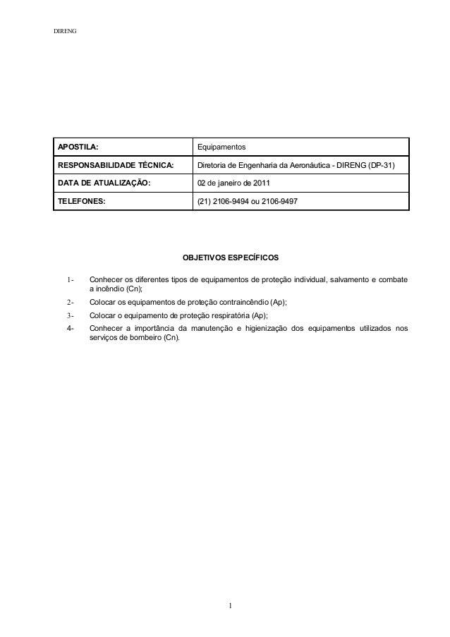 DIRENG APOSTILA:APOSTILA: EquEquipamentos RESPONSABILIDADE TÉCNICA: Diretoria de Engenharia da Aeronáutica - DIRENG (DP-31...