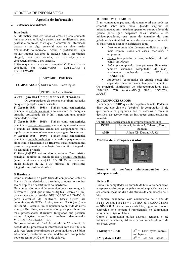 APOSTILA DE INFORMÁTICA                       Apostila de Informática                         MICROCOMPUTADOR:            ...