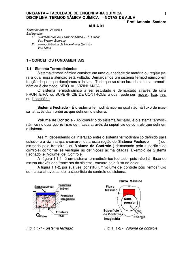 UNISANTA – FACULDADE DE ENGENHARIA QUÍMICA DISCIPLINA: TERMODINÂMICA QUÍMICA I – NOTAS DE AULA Prof. Antonio Santoro 1 AUL...