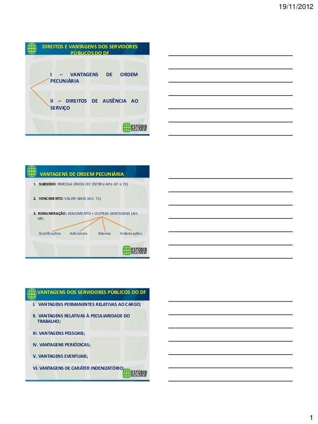 19/11/2012  1  DIREITOS E VANTAGENS DOS SERVIDORES PÚBLICOS DO DF  I – VANTAGENS DE ORDEM PECUNIÁRIA  II – DIREITOS DE AUS...