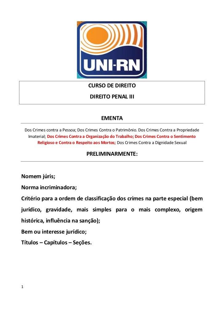 CURSO DE DIREITO                                      DIREITO PENAL III                                           EMENTA  ...