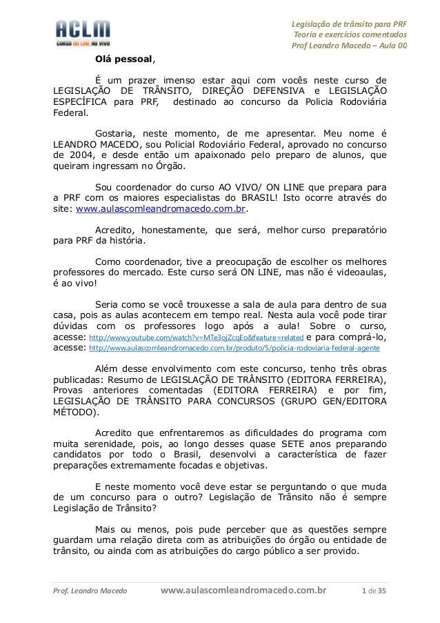 Legislação de trânsito para PRF                                                                 Teoria e exercícios coment...