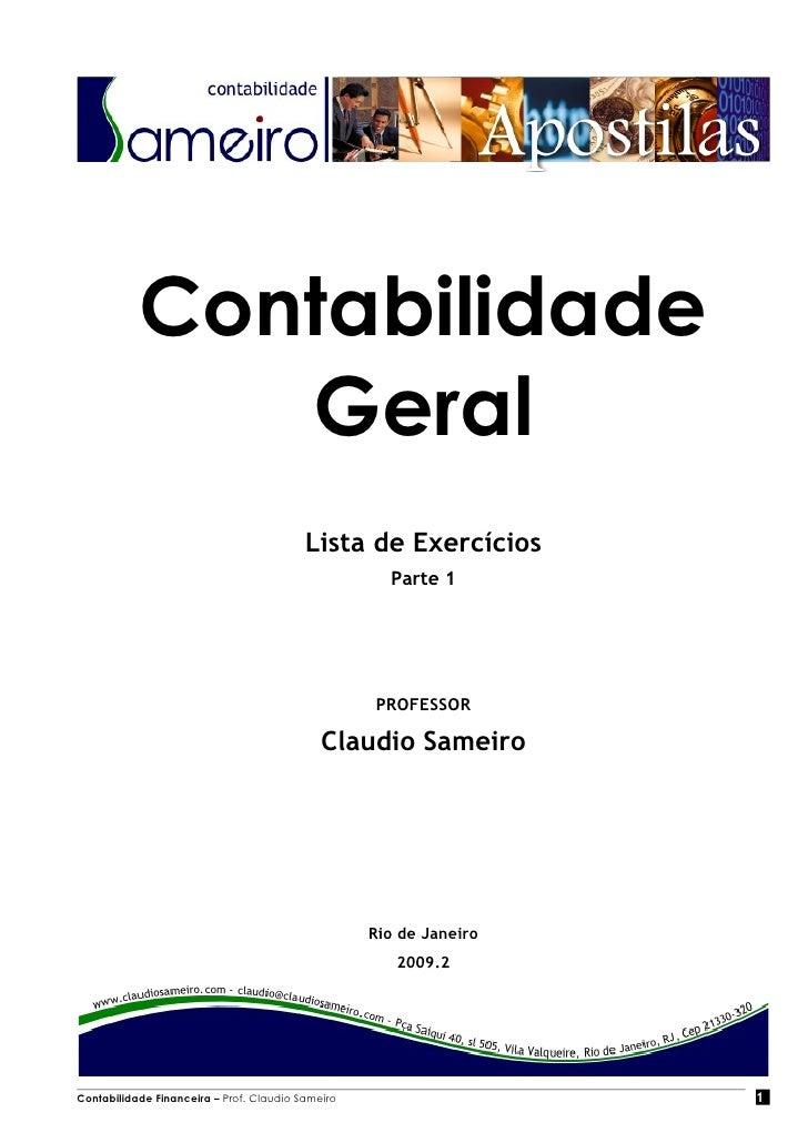 Contabilidade               Geral                                           Lista de Exercícios                           ...