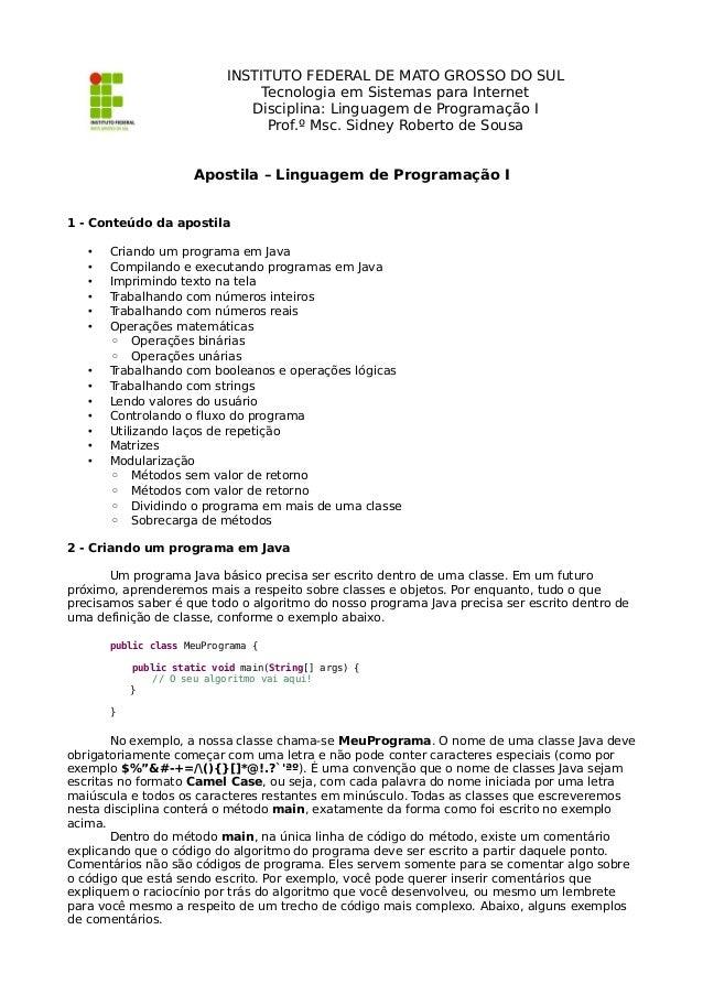 Apostila - Linguagem de Programação I