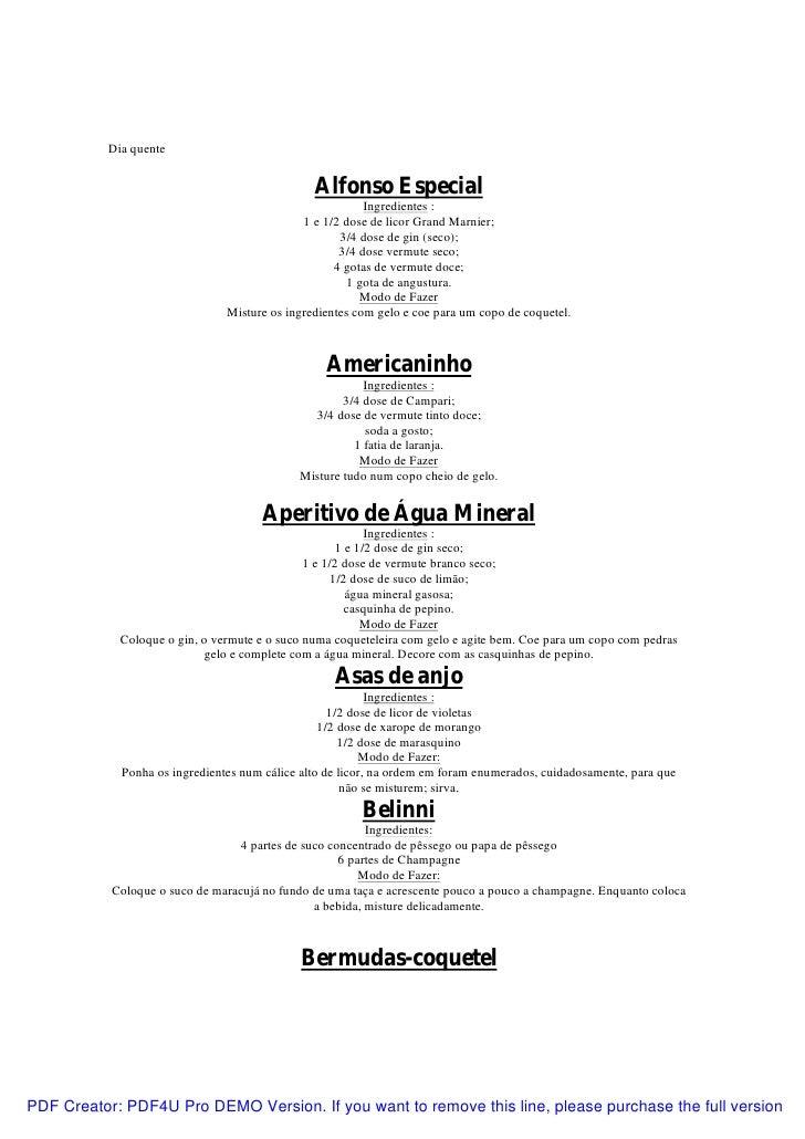 Apostila culinária   receita de bebidas