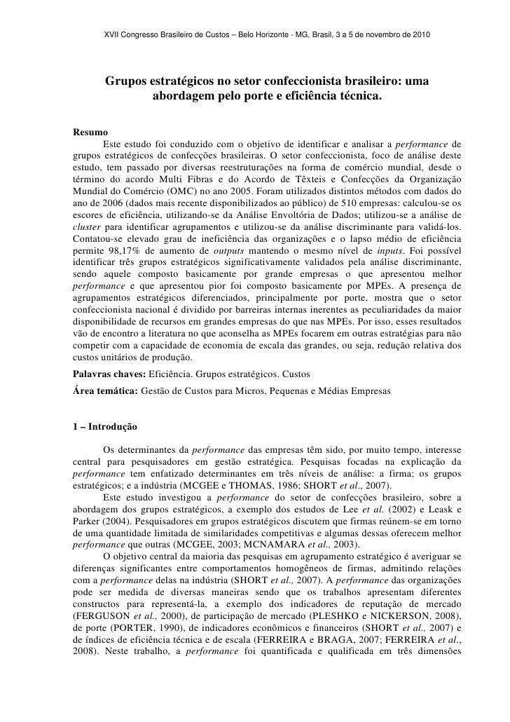 XVII Congresso Brasileiro de Custos – Belo Horizonte - MG, Brasil, 3 a 5 de novembro de 2010       Grupos estratégicos no ...