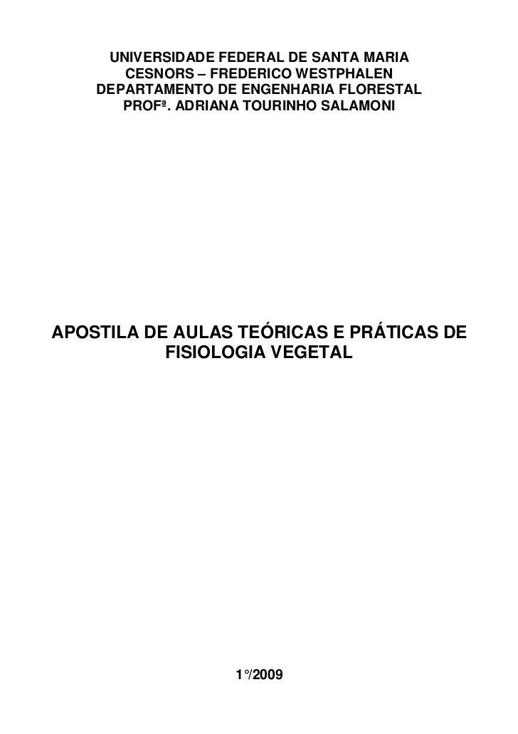 UNIVERSIDADE FEDERAL DE SANTA MARIA       CESNORS – FREDERICO WESTPHALEN    DEPARTAMENTO DE ENGENHARIA FLORESTAL       PRO...