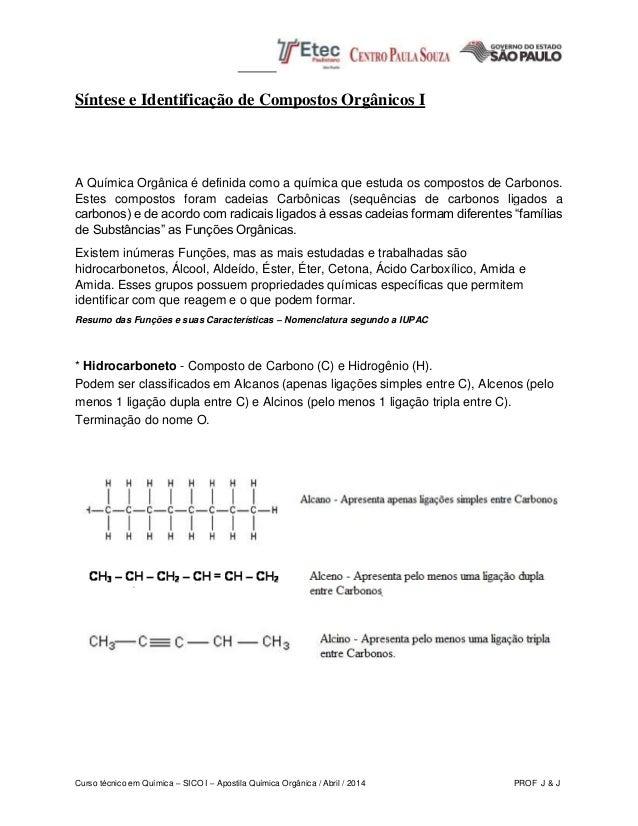 Curso técnico em Química – SICO I – Apostila Química Orgânica / Abril / 2014 PROF J & J Síntese e Identificação de Compost...