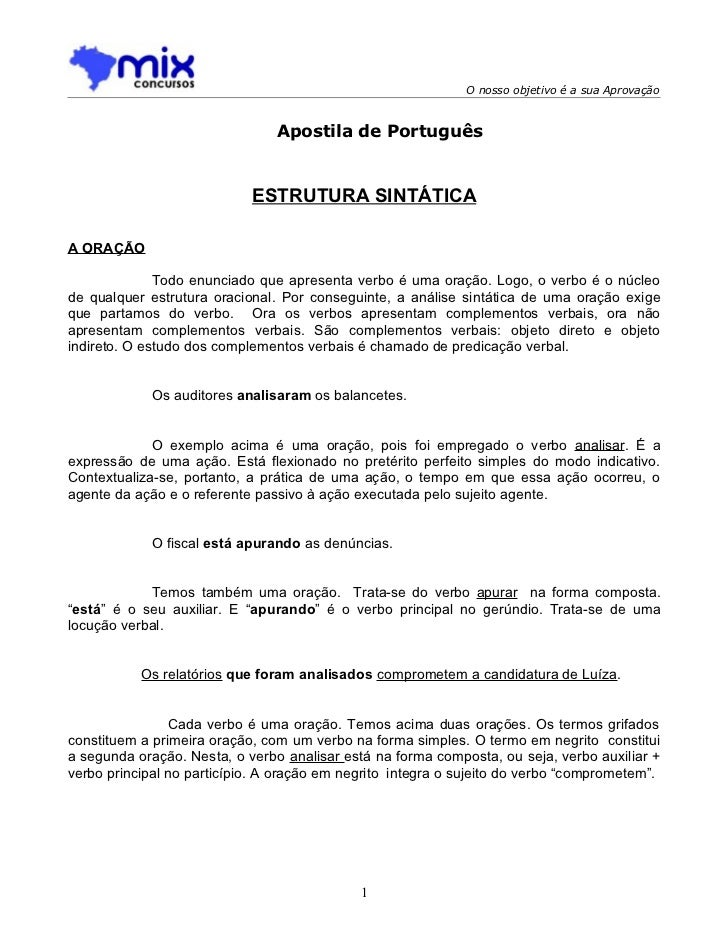 O nosso objetivo é a sua Aprovação                                Apostila de Português                            ESTRUTU...
