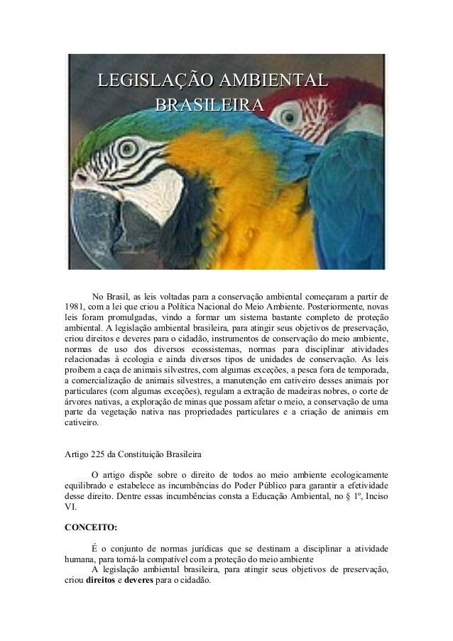 LEGISLAÇÃO AMBIENTAL BRASILEIRA  No Brasil, as leis voltadas para a conservação ambiental começaram a partir de 1981, com ...