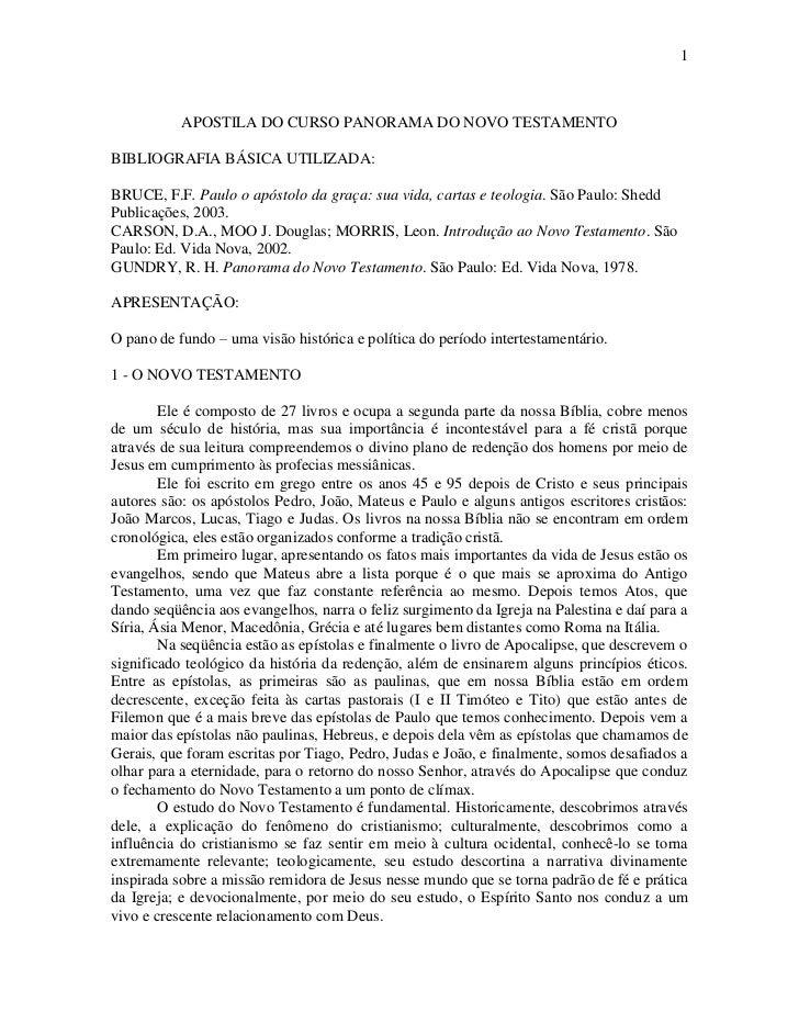 1           APOSTILA DO CURSO PANORAMA DO NOVO TESTAMENTOBIBLIOGRAFIA BÁSICA UTILIZADA:BRUCE, F.F. Paulo o apóstolo da gra...