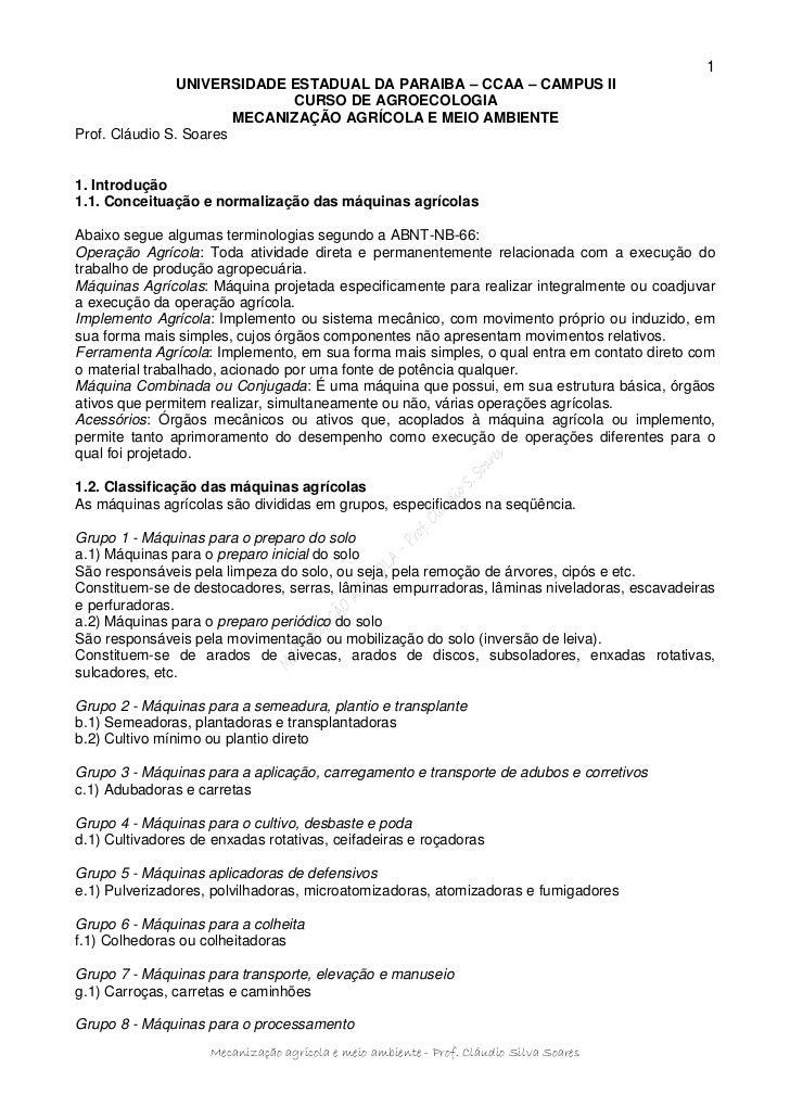 1                UNIVERSIDADE ESTADUAL DA PARAIBA – CCAA – CAMPUS II                              CURSO DE AGROECOLOGIA   ...
