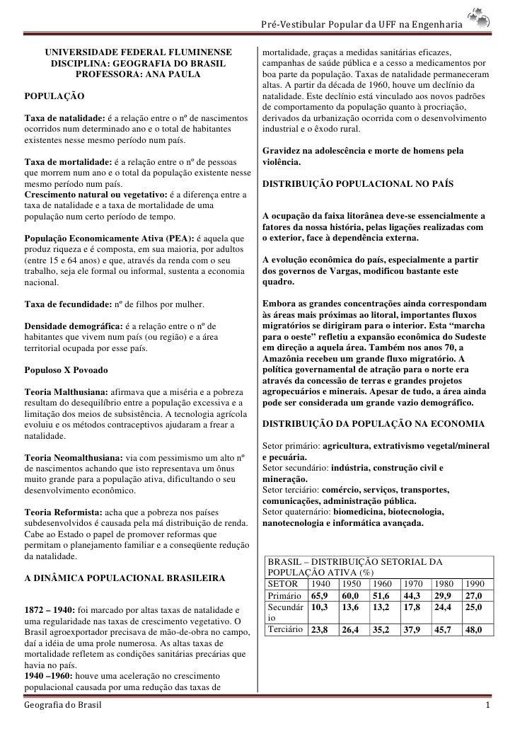 Pré-Vestibular Popular da UFF na Engenharia       UNIVERSIDADE FEDERAL FLUMINENSE                         mortalidade, gra...