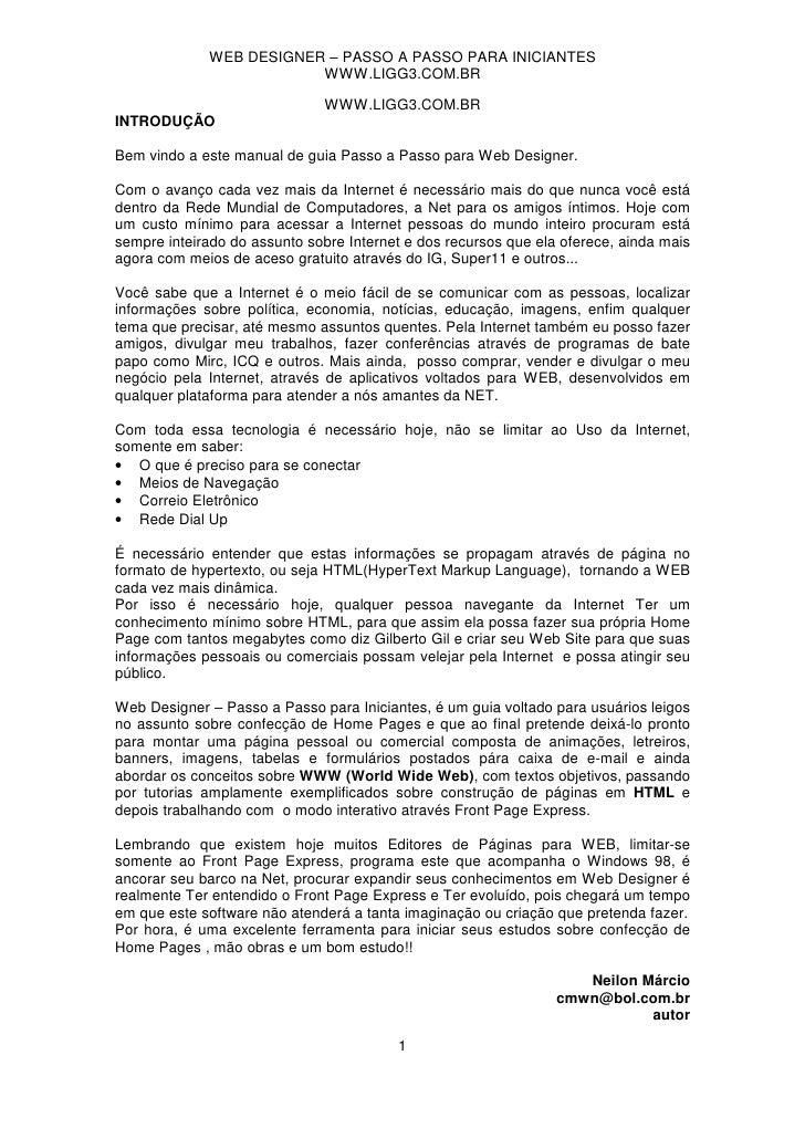 WEB DESIGNER – PASSO A PASSO PARA INICIANTES                         WWW.LIGG3.COM.BR                              WWW.LIG...