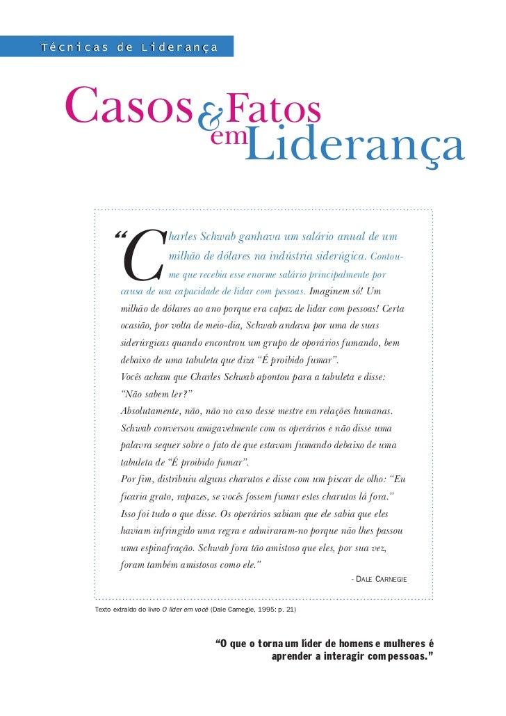 """Técnicas de Liderança  Casos&Fatos        em          Liderança          """"              C                              har..."""