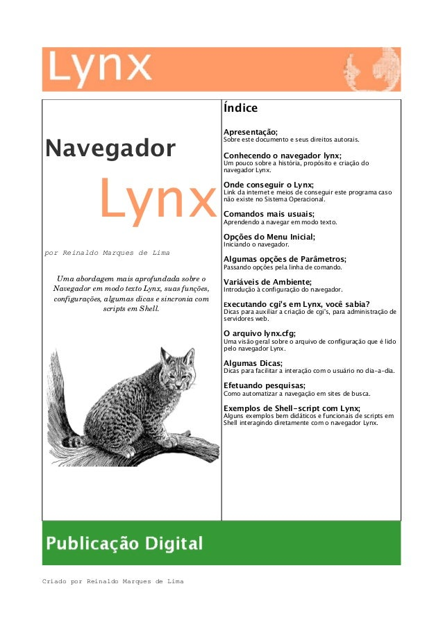 Navegador Lynx por Reinaldo Marques de Lima Umaabordagemmaisaprofundadasobreo NavegadoremmodotextoLynx,suasfun...