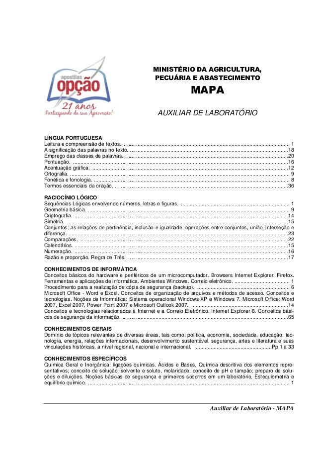 Auxiliar de Laboratório - MAPA MINISTÉRIO DA AGRICULTURA, PECUÁRIA E ABASTECIMENTO MAPA AUXILIAR DE LABORATÓRIO LÍNGUA POR...