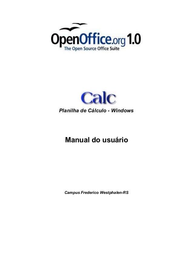 Planilha de Cálculo - Windows  Manual do usuário  Campus Frederico Westphalen-RS