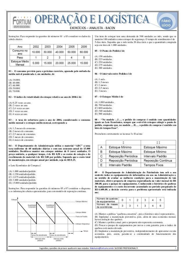 EXERCÍCIOS–ANALISTA‐BACEN FÁBIO LÚCIO   Instruções: Para responder às questões de números 01 a 03 considere os da...