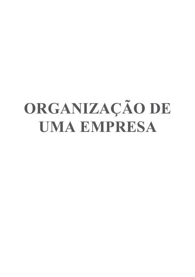 ORGANIZAÇÃO DE UMA EMPRESA