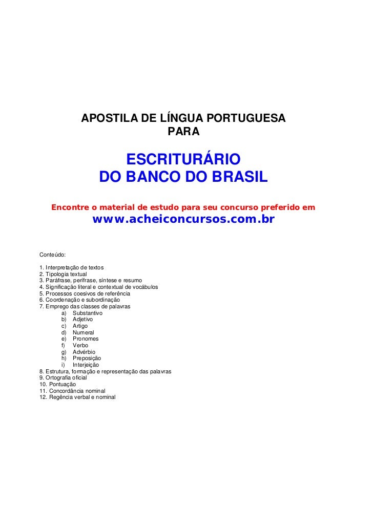 APOSTILA DE LÍNGUA PORTUGUESA                             PARA                          ESCRITURÁRIO                      ...