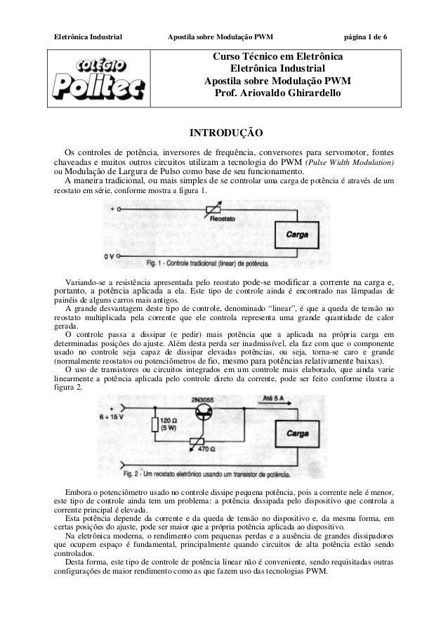 Eletrônica Industrial Apostila sobre Modulação PWM página 1 de 6 Curso Técnico em Eletrônica Eletrônica Industrial Apostil...